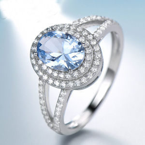 6x8mm Oval Sky Blue Topaz Engagement Silver Ring